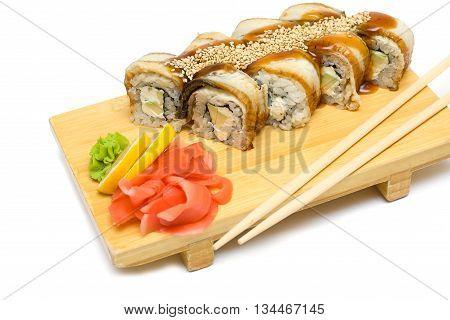 Eel sushi rolls japanese gourmet food on white