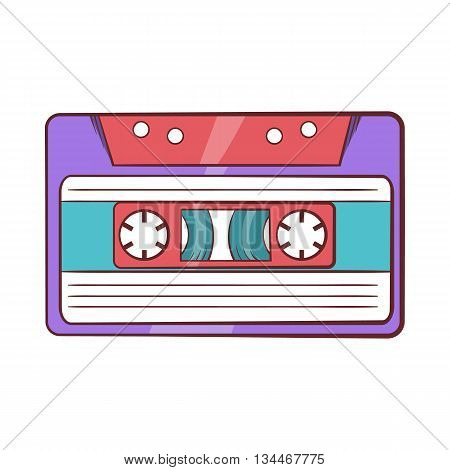 Cassette tape icon in cartoon style on a white background