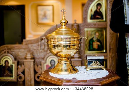 A beautiful vessel for the Baptism in the Orthodox Church