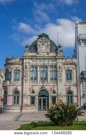 COIMBRA, PORTUGAL - APRIL 28, 2016: Classic bank building in the historical center of Coimbra, Portugal