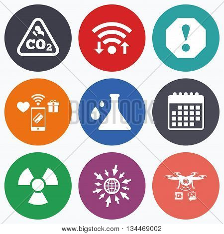 Wifi, mobile payments and drones icons. Attention and radiation icons. Chemistry flask sign. CO2 carbon dioxide symbol. Calendar symbol.