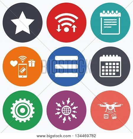 Wifi, mobile payments and drones icons. Star favorite and menu list icons. Notepad and cogwheel gear sign symbols. Calendar symbol.