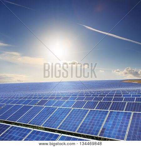 Solar panels with blue sky and blue sky
