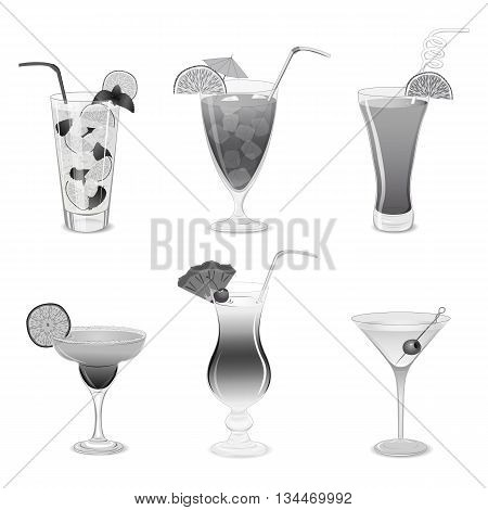 Set of grayscale cocktails isolated on white background