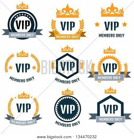 VIP Club members only logo set vector.
