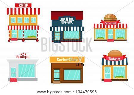 Shops icons set in flat design style. Shop-market bakery bar or restaurant barber shop boutique fast food shop.