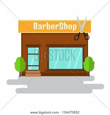 Barbershop of flat style building. Vector illustration.