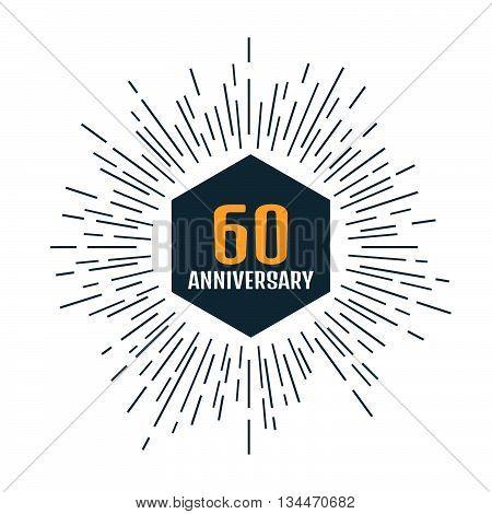 Anniversary logo 60th. Anniversary 60. Stock vector. Vector illustration.