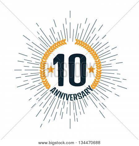 Anniversary 10 logo. Stock vector. Vector illustration.