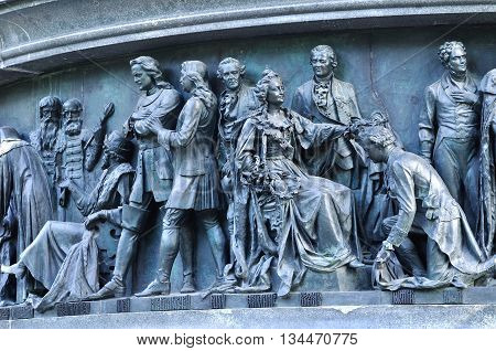 VELIKY NOVGOROD RUSSIA - JUNE 14 2016. Sculptural group Statesmen at the monument Millennium of Russia - sculptures of Peter the Great and Catherine the Great and diplomats of their times