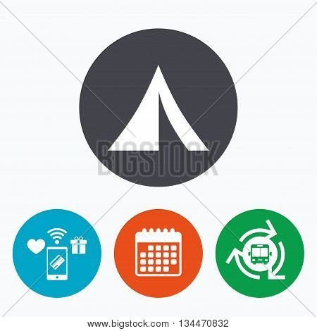 Tourist tent sign icon. Camping symbol. Mobile payments, calendar and wifi icons. Bus shuttle.