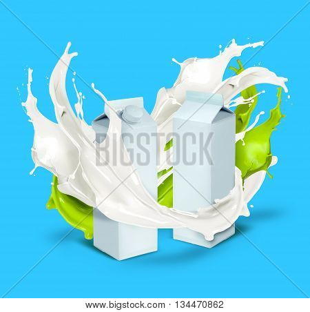 Fresh milk cans with white and green splash isolated on blue