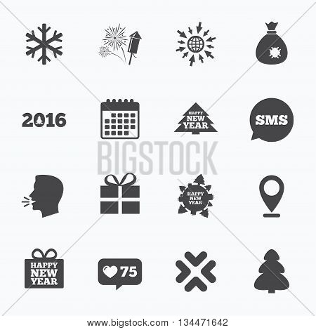 Calendar, go to web and like counter. Christmas, new year icons. Gift box, fireworks and snowflake signs. Santa bag, salut and rocket symbols. Sms speech bubble, talk symbols.