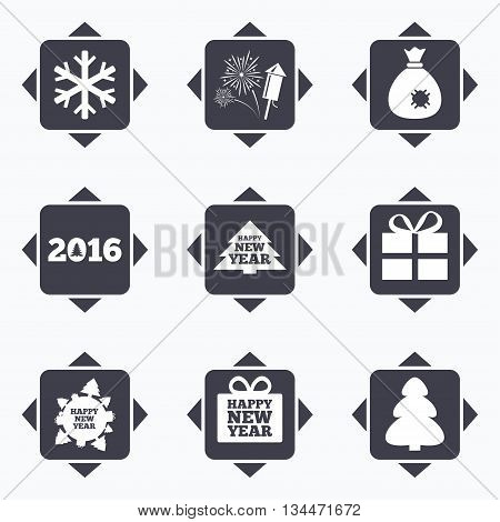 Icons with direction arrows. Christmas, new year icons. Gift box, fireworks and snowflake signs. Santa bag, salut and rocket symbols. Square buttons.