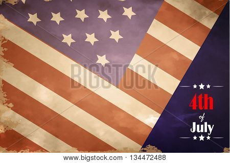 grunge flag of USA in color vector illustration 4th of July