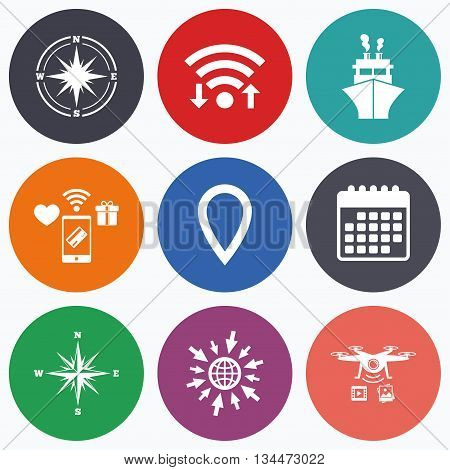 Wifi, mobile payments and drones icons. Windrose navigation compass icons. Shipping delivery sign. Location map pointer symbol. Calendar symbol.