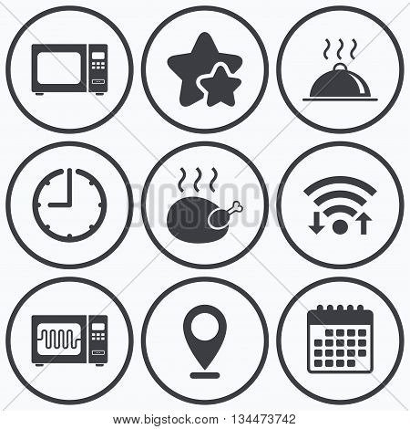 Clock, wifi and stars icons. Microwave grill oven icons. Cooking chicken signs. Food platter serving symbol. Calendar symbol.