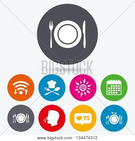 Wifi, like counter and calendar icons. Plate dish with forks and knifes icons. Chief hat sign. Crosswise cutlery symbol. Dining etiquette. Human talk, go to web.