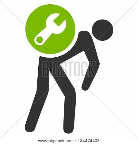 Service Courier vector icon. Style is bicolor flat icon symbol, eco green and gray colors, white background.