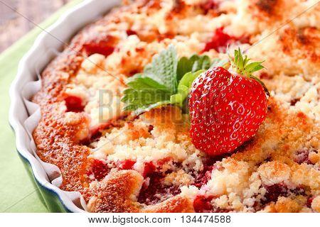 Fresh Strawberry On Fruit Cake On Green Towel