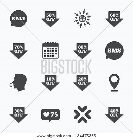Calendar, go to web and like counter. Sale discounts icons. Special offer signs. Shopping price tag symbols. Sms speech bubble, talk symbols.