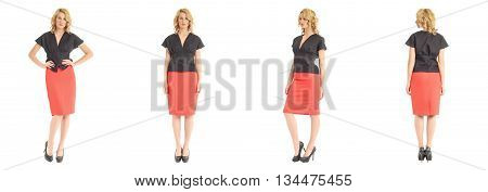 Beautiful Business Lady In Coral Skirt Isolated