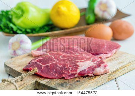 Marble Beef For Preparing Schnitzels.