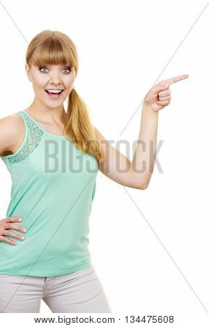 Woman Pointing Or Touching With Index Finger