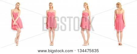 Beautiful Blonde Women In Pink Sexy Dress Isolated