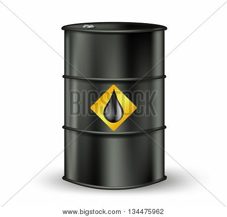 black metallic oil barrel with petrol drop sign. vector illustration