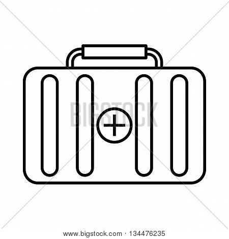 First aid kit icon in outline style isolated on white background