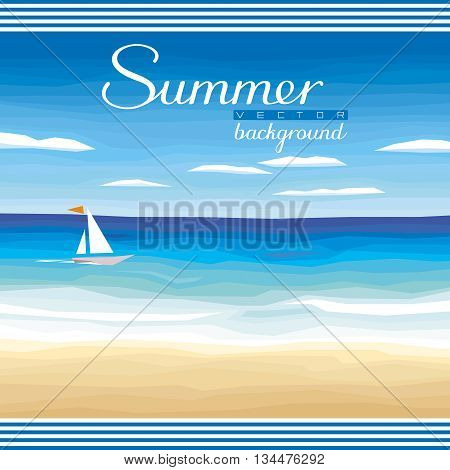 Seascape vector background - tropical sand beach ocean sky for summer events and advertising