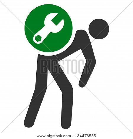 Service Courier vector icon. Style is bicolor flat icon symbol, green and gray colors, white background.