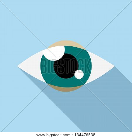 Tracking eye icon in flat style with long shadow. Spying symbol