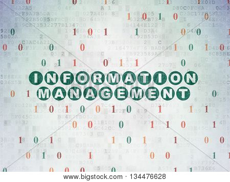 Data concept: Painted green text Information Management on Digital Data Paper background with Binary Code