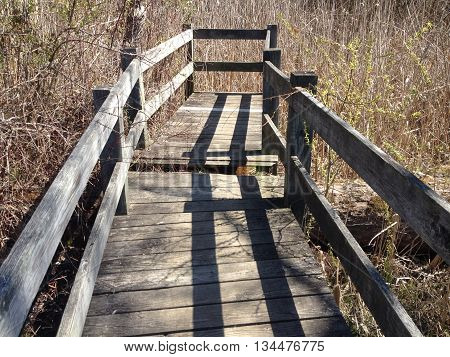 Wooded walkway bridge over water in a park