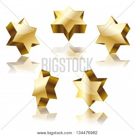 set of golden star of David on white. vector illustration