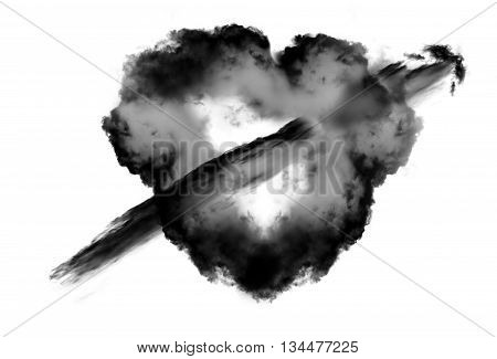Heart shape black cloud with arrow over white background. Love and romantic passion conceptual illustration