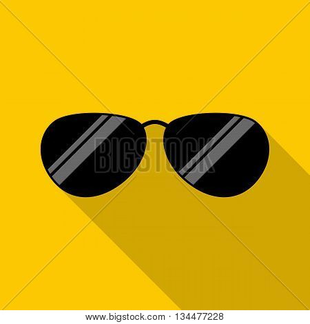 Glasses icon in flat style with long shadow. Accessory symbol