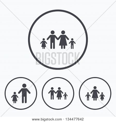 Family with two children icon. Parents and kids symbols. One-parent family signs. Mother and father divorce. Icons in circles.
