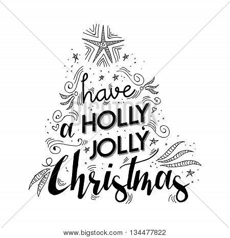 Merry Christmas Lettering Quote With Xmas Elements