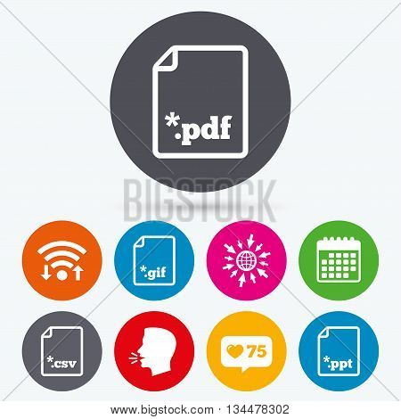 Wifi, like counter and calendar icons. Download document icons. File extensions symbols. PDF, GIF, CSV and PPT presentation signs. Human talk, go to web.