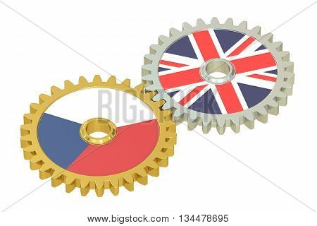 Czech Republic and UK flags on a gears 3D rendering isolated on white background