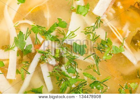 Traditional moldovan chicken soup with noodles and vegetables. Macro. Photo can be used as a whole background.