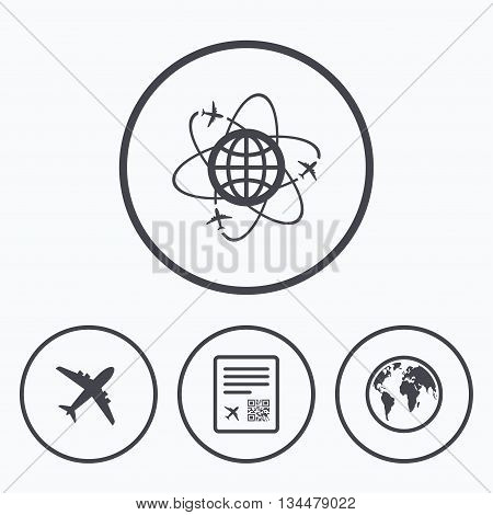 Airplane icons. World globe symbol. Boarding pass flight sign. Airport ticket with QR code. Icons in circles.