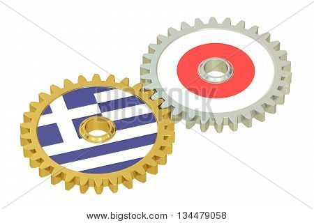Japan and Greece flags on a gears 3D rendering isolated on white background