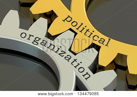political organization concept on the gearwheels 3D rendering