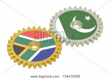 South Africa and Pakistan flags on a gears 3D rendering isolated on white background