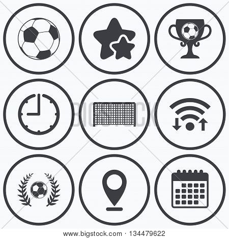 Clock, wifi and stars icons. Football icons. Soccer ball sport sign. Goalkeeper gate symbol. Winner award cup and laurel wreath. Calendar symbol.