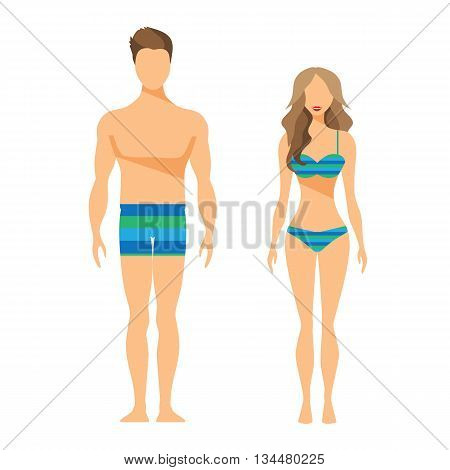 Man and Woman Vector Flat Illustration Swimsuit Swimming trunks